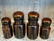 Vintage Belgium Amber Brown Glass Bubble Top Canister Jars Set Of 4 Apothecary