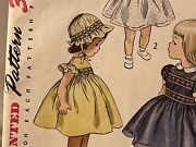 Simplicity Sewing Pattern Childand039s Dress And Bonnet Transfer Smocking 1950 Size 4