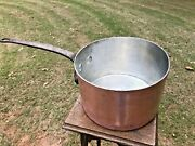 Antique D H And M Co 10.25 Hammered Copper Sauce Pan Cast Iron Handle