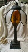 Antique Bronze Table Lamp Swan Base Original Curved Glass Shade-1900's
