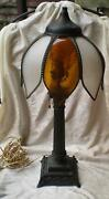 Antique Bronze Table Lamp Swan Base Original Curved Glass Shade-1900and039s