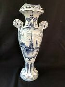 Antique Large Delft Vase With Typical Dutch Scenes Ships And Windmill