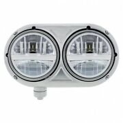 United Pacific Chrome 32783 Headlight Lh Stainless Dual Silver For Peterbilt 359