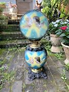 Rare Monumental Antique Hand Painted Gone With The Wind Lamp Pat 1897 Usa