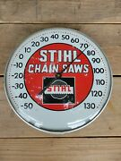 12 Inch Rare 1960s Red Vintage Stihl Thermometer