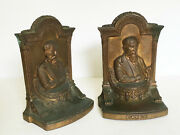 Vtg Antique Bookends Cast Brass Metal Jb 2062 Jennings Brothers Charles Dickens