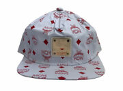 Vintage Mcm Leather Snapback Hat White And Red Monogram Adult Osfa Deadstock Nos