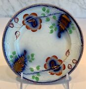 Gaudy Ironstone Flow Blue Copper Luster Plate Walley Niagara 6 3/4 C. 1856