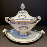"""Meissen 18th Century Porcelain Tureen With Underplate 14.25""""x 8.5""""x 11"""""""