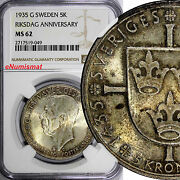 Sweden Silver 1935 5 Kronor Ngc Ms62 Toning 500th Anniversary Of Riksdag Km 806