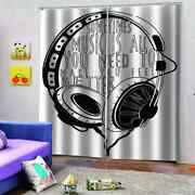 Headphones To Insulate From Noise Printing 3d Blockout Curtains Fabric Window