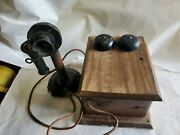 Vintage Western Electric Candlestick Telephone With Oak Ring Box