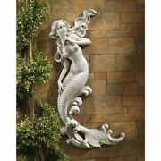 Mermaid Wall Statue Sculpture Figurine Outdoor Bath Poolside Accent Decor 33and039and039h
