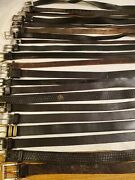 Lot Of 21 Black Leather Western Braided Fashion Belts Vintage And Contemporary