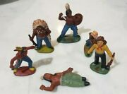 Vintage Cowboys And Indians Miniature Rubber Figures Toys Lot Of 6 Hand Painted