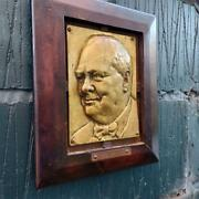 Vintage Cast Brass Plaque Of Winston Churchill Brass Relief Wall Plaque
