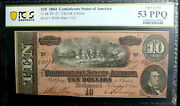 T-68 10 1864 Confederate Csa Pcgs 53 Ppq About Unc Pf-27 Darker Red Clean