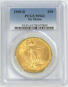 1908 D Nm Gold 20 St. Gaudens Double Eagle No Motto Pcgs Mint State 63