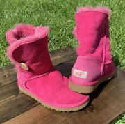 Ugg Australia Womens Classic Short Bailey Button Boots Pink Size 7