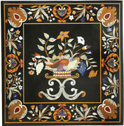 Black Marble Dining Table Top Precious Marquetry Floral Inlay Art Home Deco B255