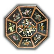 Black Marble Octagon Table Top Mosaic Floral Inlay Art Handmade Home Decors B263