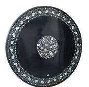 Marble Black Round Dining Center Table Top Mop Fine Floral Inlay Home Decor B276