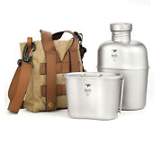 Keith Titanium Ti3060 Canteen Mess Kit Military Water Bottle Kettle With Cup