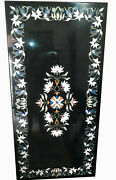 Black Marble Dining Table Precious Floral Inlay Art Handmade Kitchen Decors B278