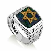 Azurite Stone Star David Gold Plated Ring Sterling Handcrafted Jewish Holy Land