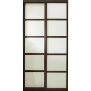 Sliding Door 60 In. X 81 In. Jump-proof Aluminum Track Painted Glass Panel Wood