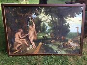"""Beautiful 61"""" X 41"""" Oil Canvas Painting Adam And Eve Garden Of Eden Shipping Ok"""