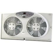Bionaire Twin Window Fan With Remote And Thermostat Includes Extension Panel