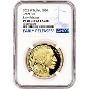 2021 W American Gold Buffalo Proof 1 Oz 50 Ngc Pf70 Ucam Early Releases