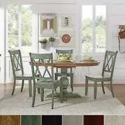 Eleanor Sage Green Solid Wood Oval Table And X Back Chairs