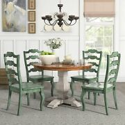 Eleanor Antique White Round Solid Wood Top 5-piece Dining Antique Sage Green Cha