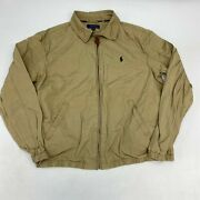 Polo Zip Up Polo Jacket Men's Large Long Sleeve Tan Leather Cotton