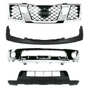 New Front Chrome Bumper Grille Lower Valance Kit For Nissan Frontier 2005-2008