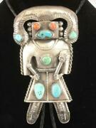 Early Pawn Large Sterling Silver Turquoise Coral Kachina Bolo Tie Ram Buffalo