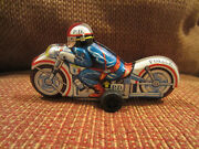 Police P.d. Motorcycle Tin Litho Friction Toy Japan 1960 - Vintage