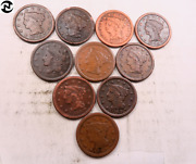 10 Fine-xf 1839-1856 Mixed Braided Hair Large Cent Lot // 10 Coins Lcl20