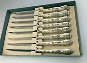 Strasbourg By Gorham Sterling Silver Boxed Set Of 8 Steak Knives 9, Beautiful