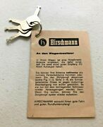 Mercedes Benz Hirschmann Antenna 4 Keys Booklet Vintage 60and039s 70and039s 230sl English