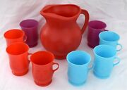 Kool-aid - Red Pitcher And 8 Colored Glasses