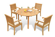 5-piece Outdoor Teak Dining Patio Pool Set 52 Round Table 4 Arm Chairs Sack