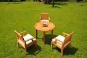 4-piece Outdoor Teak Patio Dining Set 36 Round Table, 3 Arm Chairs Lagos