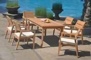 7-piece Outdoor Teak Dining Set 60 Rectangle Table 6 Stacking Arm Chair Vello