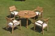 5-piece Outdoor Teak Dining Set 52 Round Table 4 Stacking Arm Chairs Vello