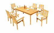 7-piece Outdoor Teak Dining Set 71andrdquo Rectangle Table 6 Stacking Arm Chairs Hari