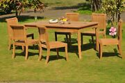 7-piece Outdoor Teak Dining Patio Set 71 Rectangle Table 6 Armless Chairs Giva