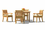 5-piece Outdoor Teak Dining Set 48 Butterfly Round Table 4 Arm Chairs Giva